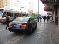 car on the sidewalk in Dalian