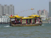 tourist boat on the Yalu river Dandong